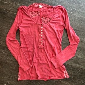 Free People long sleeve lace henley